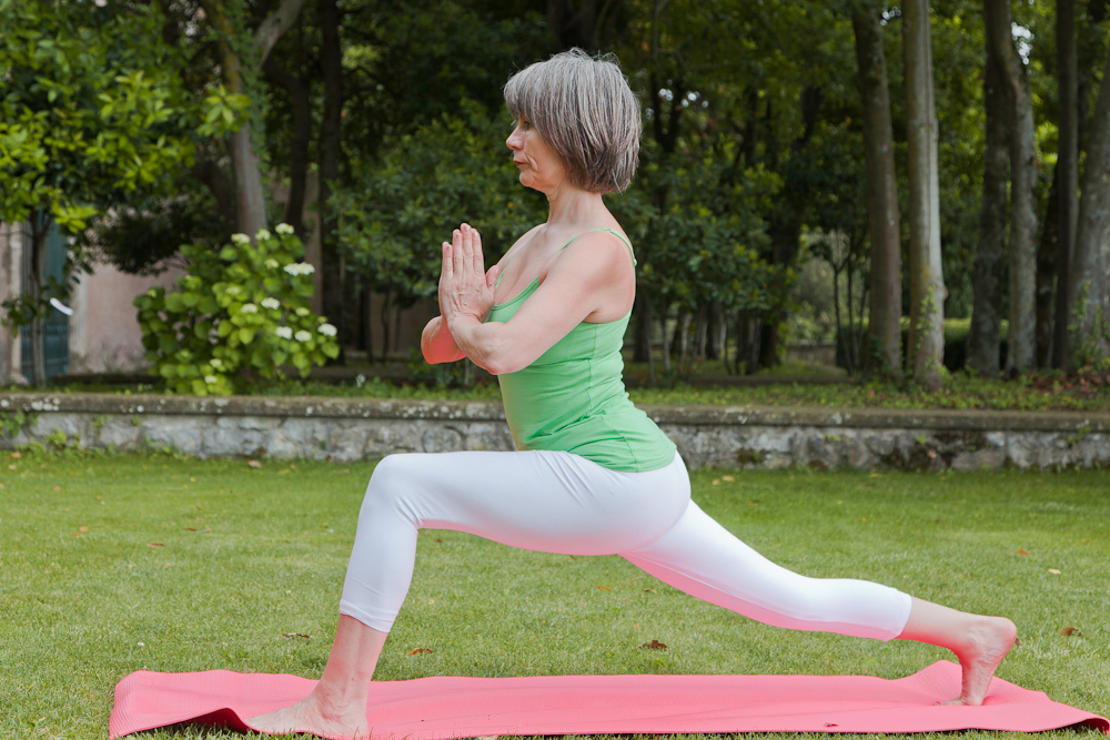 Rose Romani demonstrates a lunge pose (beginner)