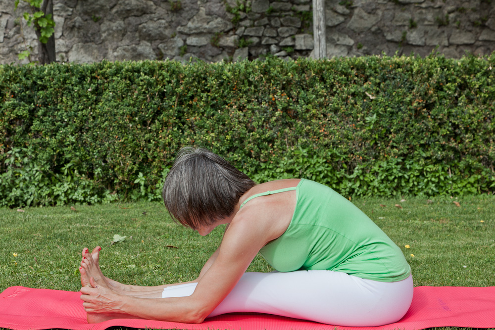 Rose Romani demonstrates Paschimottanasana (intermediate)