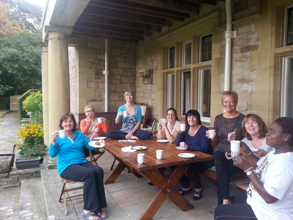 enjoying Tea and cake at the end of retreat 2014